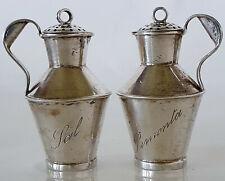 Antique Salt & Pepper Jug Solid Silver Work Overseas Portugal Brazil