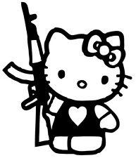Kitty Got a Gun Decal Hello Kitty Vinyl Decal / Sticker 6 inches Tall