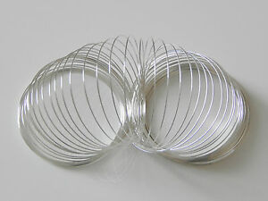 60 Coils Silver Plated Memory Wire Dia 55mm x 0.6mm Bracelet Craft UK SELLER
