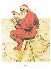 """Norman Rockwell print """"SANTA CLAUS PLANS HIS TRIP"""" Christmas Holiday gifts"""