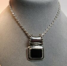 "Sterling Silver Black Onyx Stone Slide Pendant Rope Chain 18"" Necklace 26.9 Gram"