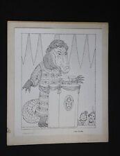 Oliver Grimley Surrealist/Comic Ink Drawing, Ink Signed, Label Illustration #120