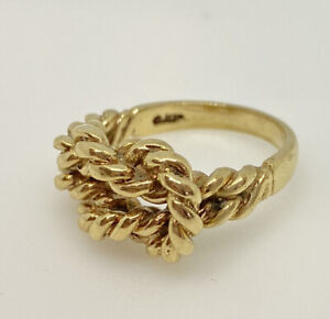 Gold Knot Ring 9ct Yellow Gold Rope Knot Ring  Twisted Rope Knotted Ring LOVE