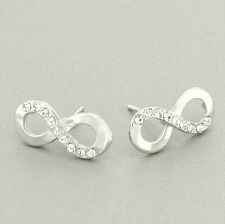 INFINITY EARRINGS MADE WITH SWAROVSKI CRYSTAL CLEAR FOREVER ETERNITY JEWELRY