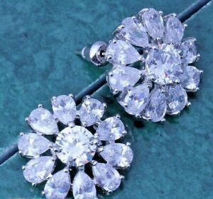 Super Size Sparkly White Flower Sun Disc Silver Stud Drop Earrings