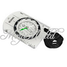 All in 1 Outdoor Hiking Camping Baseplate Compass Map MM INCH Measure Ruler SO