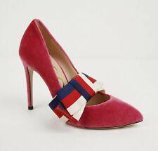 Gucci Raspberry Velvet Heel with Detachable BRW Web Elastic Bow 37 474467 5532