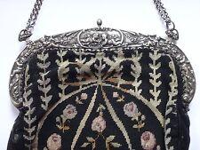 Grand sac de soirée ancien monture argent massif cherubins XIXeme broderie