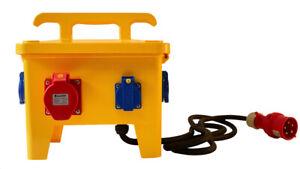 CEE Stromverteiler 32A mobiler Baustromverteiler Einzelsicherungen und FI gelb