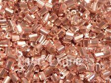 10g 900pc Japan 2 Cut Hex Metallic Glass Seed Beads 11/0 2mm- Pink/ Rose Gold