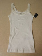 ABERCROMBIE KIDS GIRLS SIZE MEDIUM WHITE RIBBED TANK TOP SHIRT LACE TRIM NEW