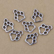 25Pcs Bear Footprint Tibetan Silver Charms Pendants 13mm HN160