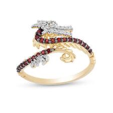 Enchanted Disney Mulan Garnet and 0.21 CT Diamond Mushu Dragon Ring 14K Finish