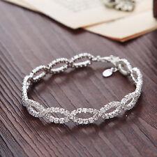 Silver Elegant Beaded Bangle Bracelet with Swarovski Elements