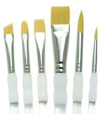 SG401 Soft Grip oro TAKLON rotondo piatto angolare 6 x ARTIST Paint Brush Set & wrap