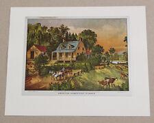 Vintage Currier and Ives American Homestead Summer Color Foil Etch Print