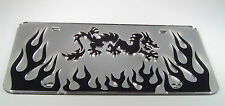 DRAGON FLAMES MARTIAL ARTS MIRRORED LASER  LICENSE PLATE INLAID ACRYLIC