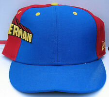 SUPERMAN Red & Blue FITTED LOGO CAP Size 7 1/2 New Era SATIN LINED w/ SUPERMAN