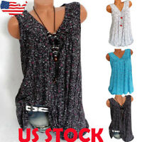 Women Summer Loose Sleeveless Vest Top Blouse Lady Boho V-neck T-Shirt Plus Size