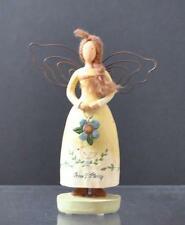 "Vintage Russ Country Ceramic Lady Yarn Hair Metal Wings Shelf Decor 5 3/4"" G18"