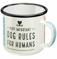Retro Sturdy Enamel Metal Mug 'Very Important DOG RULES FOR HUMANS Camping Puppy