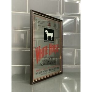 Vintage White Horse Whisky Pub Mirror Breweriana Man Cave Bar 1970's Retro