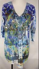 KIARA Sz L Blouse Paisley SUBLIMATION stretch Blue Clear Sequin Embellished
