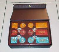 Set completo FICHES CHIPS POKER Anni 70 NUOVO Madreperla Box Carte Cards