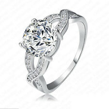 Elegant Woman Round Cut 2.55ct White Sapphire 925 Silver Wedding Ring Size 6