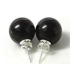 Fashion Jewelry 10mm Black Agate Beads 925 Silver Stud Earrings AAA