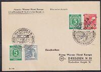 SBZ 168 II Bezrikshand St. 14 Dresden 1 MIF All. Besetz. 915, 920 mit SST Karte8