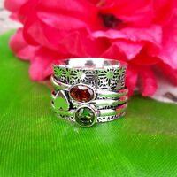Garnet Peridot Solid 925 Sterling Silver Spinner Ring Meditation Ring sr98024