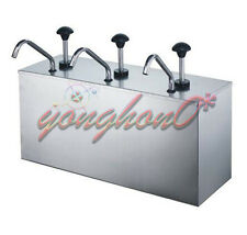 NEW 3 Bucket Sauce Dispenser Pump Squeeze Condiment Dispensing Stainless Steel