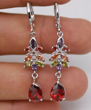 18K White Gold Filled - Leaves Waterdrop Ruby Topaz Zircon Lady Hoop Earrings