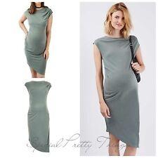 Maternity Dress Topshop Asymmetric Drape Midi Khaki Sage Green Pregnancy NEW
