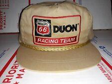 Phillips 66 Duon Gas Motor Oil Racing Team Brown Cloth Trucker Hat Cap Vintage