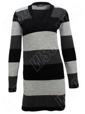 Acrylic Machine Washable Medium Knit Striped Jumpers & Cardigans for Women