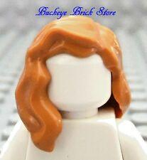 NEW Lego Female Minifig Light BROWN HAIR Flesh over Shoulder Head Gear