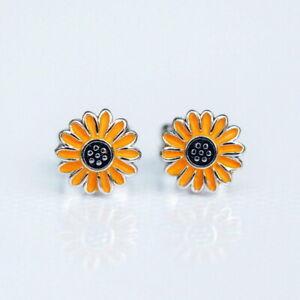 Fashion Silver Cute Daisy Flower Enamel Earrings Ear Stud Women Jewelry Gifts