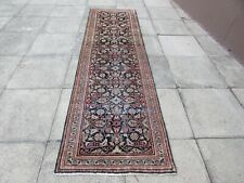 Vintage Traditional Hand Made Oriental Blue Wool Long Narrow Runner 307x85cm