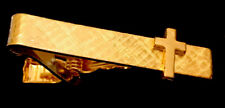 Christian Religious Textured Cross Gold Tone Tie Clip