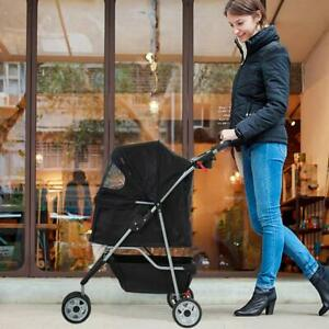 Pet Stroller Cat Dog 3 Wheel Jog Folding Heavy Duty Travel Breathabl Carrier NEW