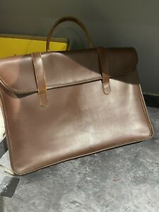 VINTAGE SHEET MUSIC CASE Brown Leather Bag Document Briefcase