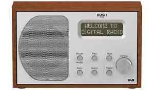 Bush Portable RDS DAB FM Radio Digital LCD Mains Battery Sleep Timer Silver Wood