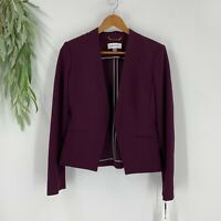 Calvin Klein Womens Collarless Open-Front Blazer Jacket Size 4 New Aubergine