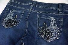 Wallflower Jeans Size 1 25 x 29 Womens Winged Fleur De Lis Skinny Stretch