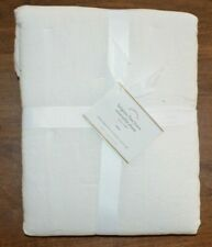 Pottery Barn Belgian Flax Linen Reversible White Quilted Euro Pillow Sham Stripe