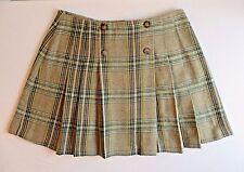 Tartan Plaid Scottish Wrap Pleated Skirt Kilt Sz 12 Wool Green Tan Career School