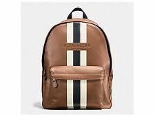 NWT Coach F72237 Charles Backpack in Varsity Leather Dark Saddle/Midnight