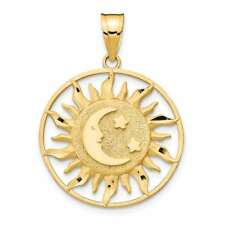 14K Yellow Gold Polished Sun w/ Moon & Star Pendant